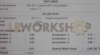 MOT test results for 200Tdi emissions smoke test
