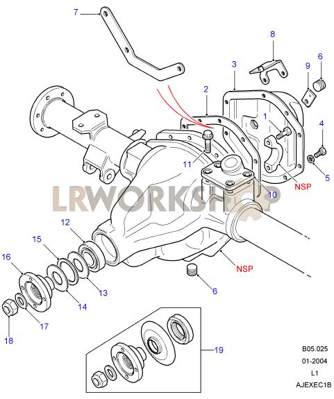 rear axle case assembly - salisbury  110  130
