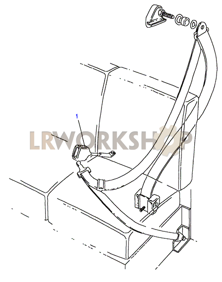 front seatbelt assembly - except length hood