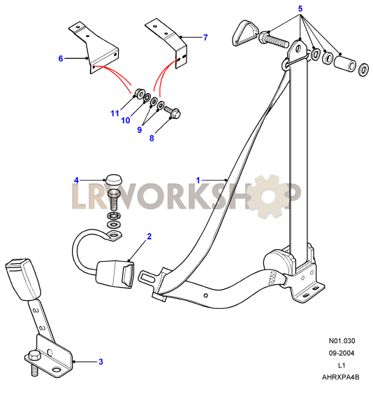 Seat Belt Assemblyfront on 2006 Range Rover Part Diagrams