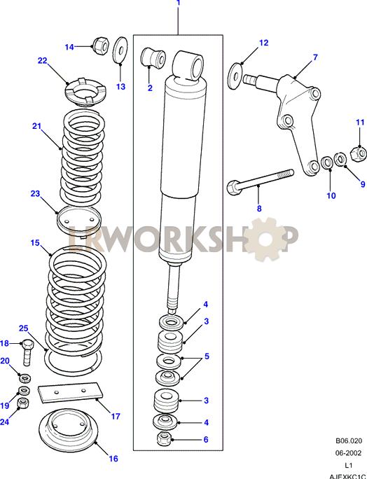 shock absorbers & springs - 110/130 - land rover workshop shock absorber diagram  #10