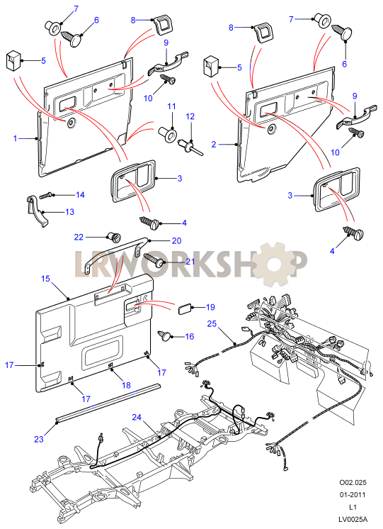 Defender black wiring & door trim land rover workshop on wiring diagram for land rover defender defender wiring diagram 300tdi Land Rover Freelander Wiring Diagram