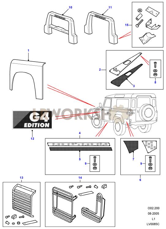 G4 LE - Exterior Trim Part Diagram