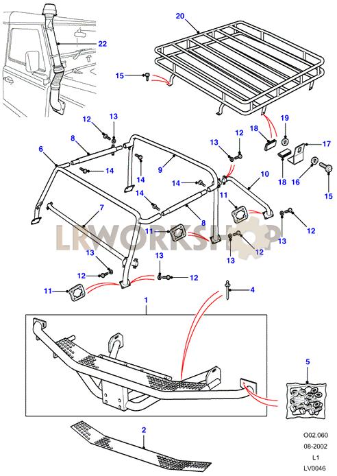 Tomb Raider - Rear Step & Roof Rack Part Diagram
