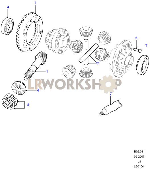 crownwheel and pinion - 4-pin front