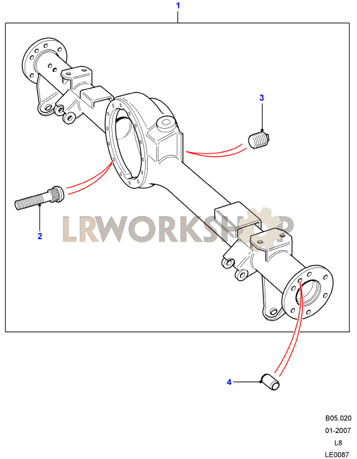 rear axle case assembly