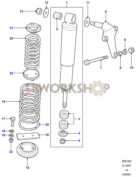 shock absorbers springs 110 130 land rover workshop rh landroverworkshop com rear shock absorber diagram front shock absorber diagram
