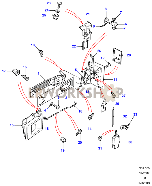 front door latch mechanism land rover workshop. Black Bedroom Furniture Sets. Home Design Ideas