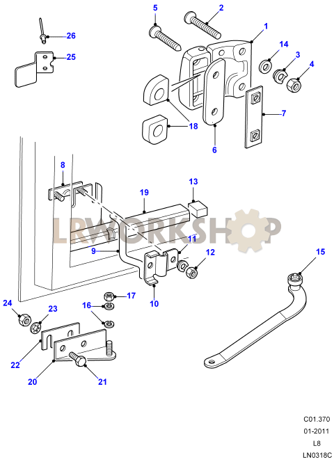 Rear Side Door Hinges  U0026 Check Strap