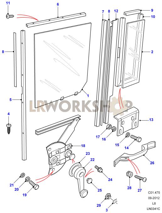 1420_window_regulator_assemblyrear_side_door rear side door window regulator assembly land rover workshop window regulator diagram at soozxer.org