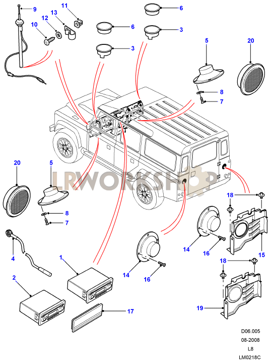 radio speakers and aerial to ca find land rover parts. Black Bedroom Furniture Sets. Home Design Ideas