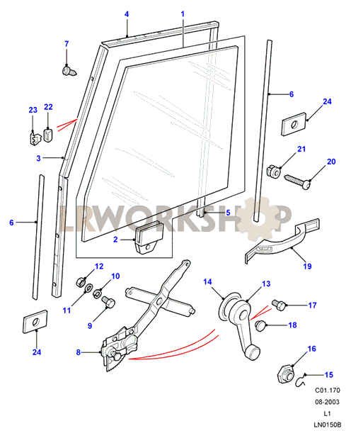 front door glass regulator from la932529 land rover. Black Bedroom Furniture Sets. Home Design Ideas