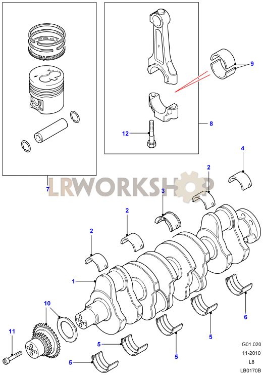 crankshaft  pistons and bearings - 2 4 tdci