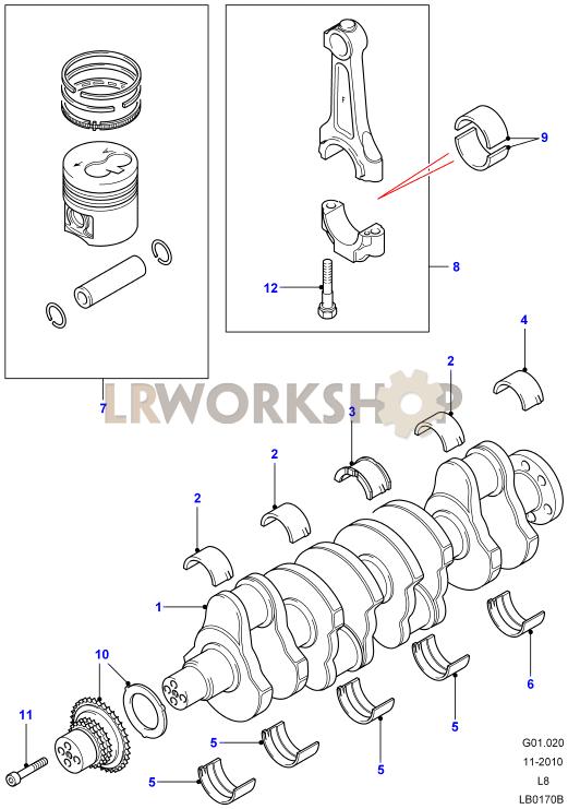 Crankshaft  Pistons And Bearings - 2 4 Tdci