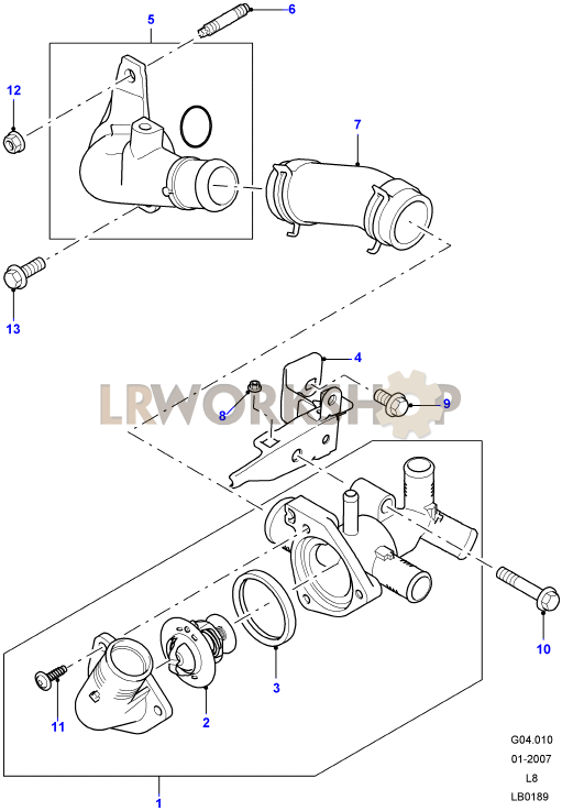 thermostat housing - 2 4 tdci