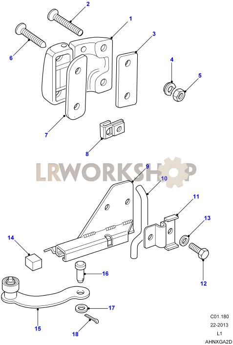 2 Land Rover Série 3 et Defender-RH Upper /& Lower Charnières de porte MXC8282//4