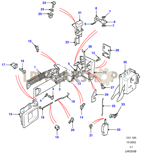 Front Door Latch Mechanism From Aa270227 Land Rover