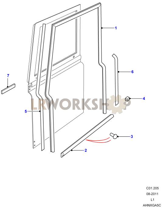 front door seals find land rover parts at lr workshop. Black Bedroom Furniture Sets. Home Design Ideas