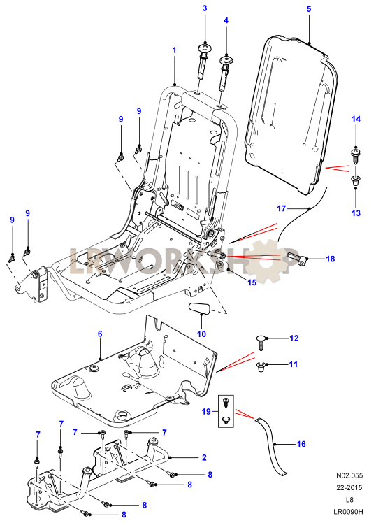 load area rear seat frame - station wagon