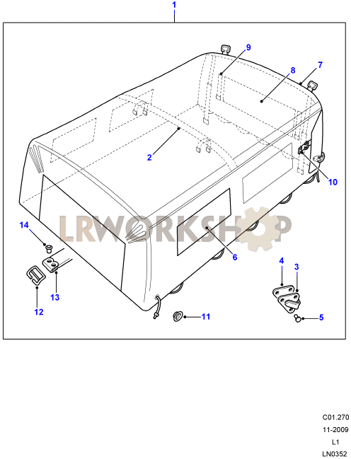 hood assy canvas - bulkhead fixing