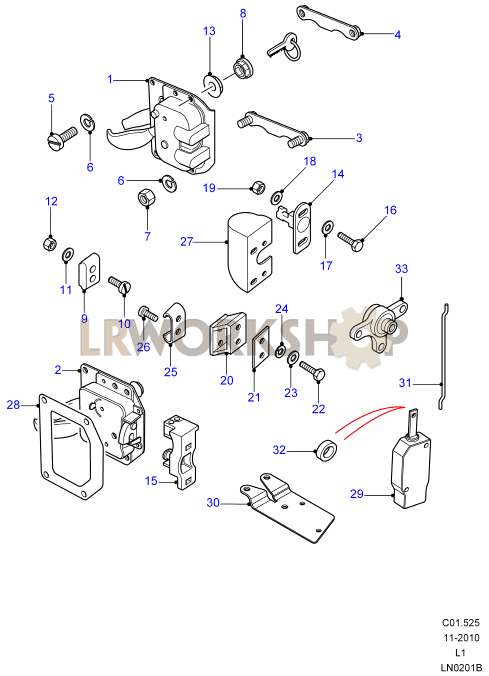 Rear End Door Latch Mechanism Land Rover Workshop