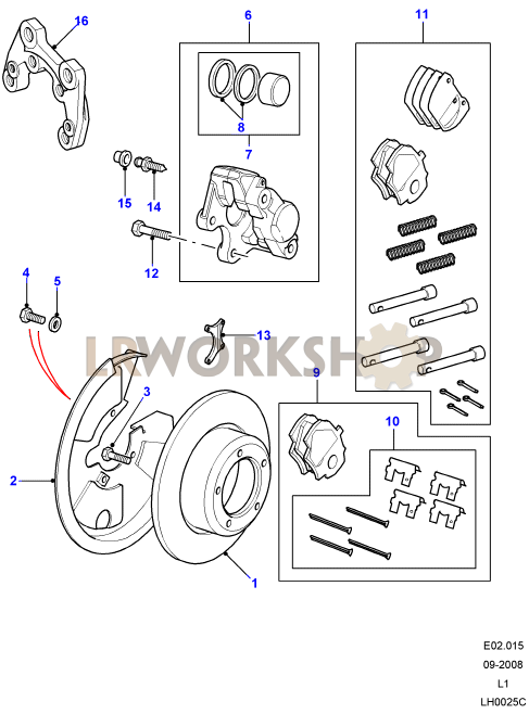 STC1268 Land Rover Defender Rh Pinza De Freno Trasero Parte