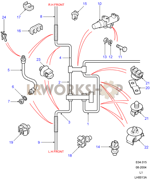 Front Brake Pipes - With Rear Discs  With Brake Valve  Without Abs