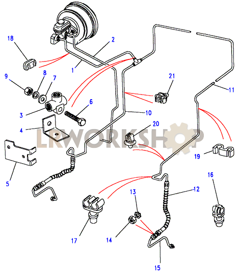 Front Brake Pipes - 90  With Rear Drum Brakes  Without Abs