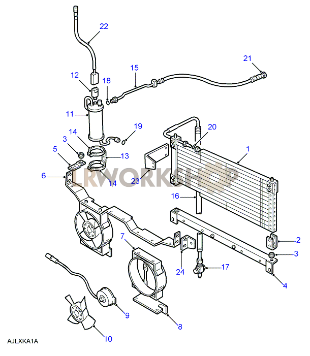 condenser  u0026 principal components - 4 cylinder - to wa159806