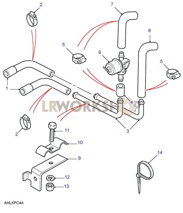 heater pipes - v8 - rhd