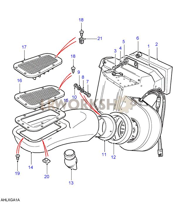 heater assembly diesel engines only land rover workshop rh landroverworkshop com Land Rover Engine Schematic 1995 Land Rover Ignition Diagram