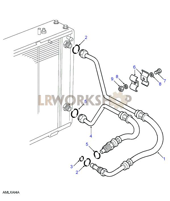 oil cooler pipes v8 find land rover parts at lr workshop. Black Bedroom Furniture Sets. Home Design Ideas