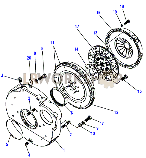 clutch  u0026 flywheel - 2 25 petrol