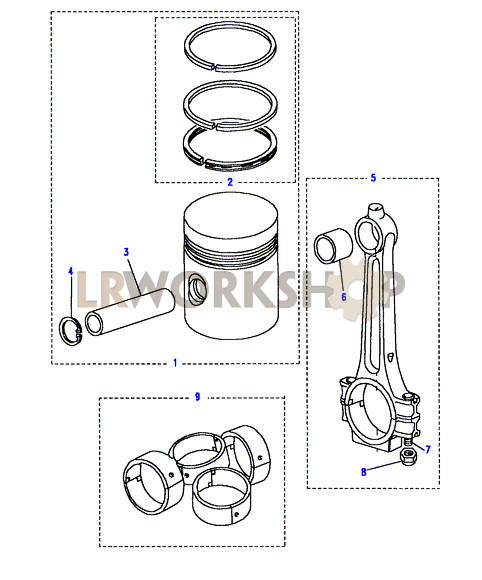 piston  connecting rod  u0026 bearings - 2 25 petrol