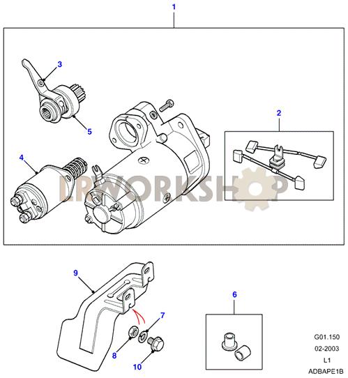 starter motor - 2 25 petrol