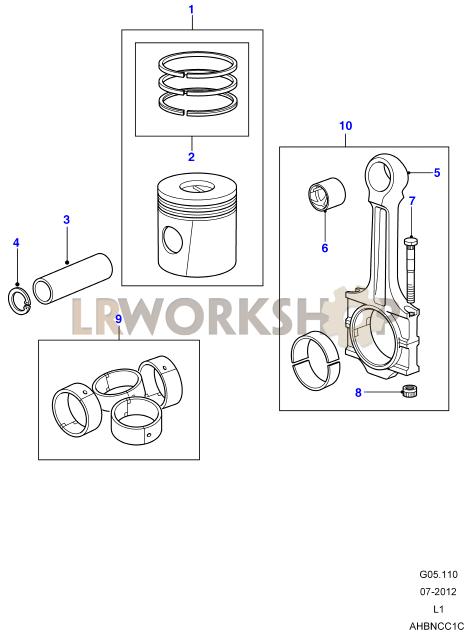 piston  connecting rod  u0026 bearings - 300tdi