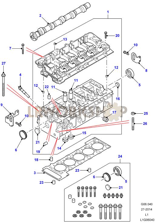 cylinder head td5 to 1a622423 find land rover parts at lr workshop. Black Bedroom Furniture Sets. Home Design Ideas