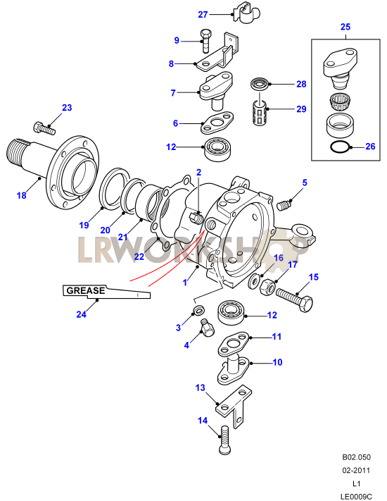 swivel pin housing - from la930456