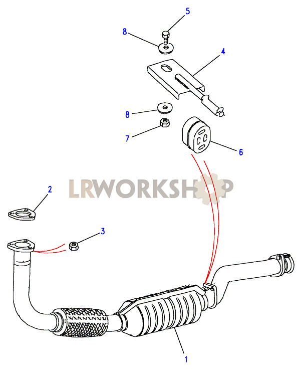 front exhaust pipe diagram labeled front exhaust pipe - 300tdi - land rover workshop