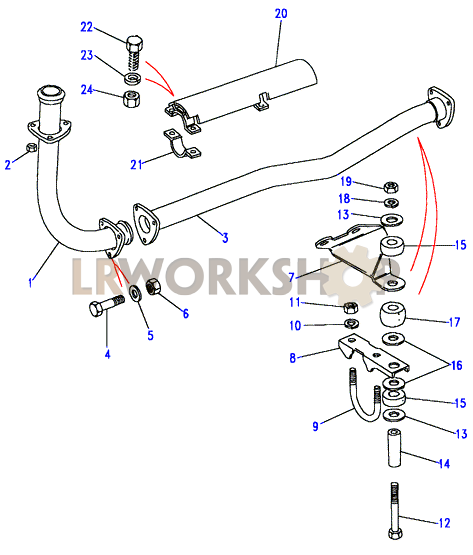 bones diagram labeled front exhaust pipe - 2.5 na - to aa267063 - land rover ... front exhaust pipe diagram labeled