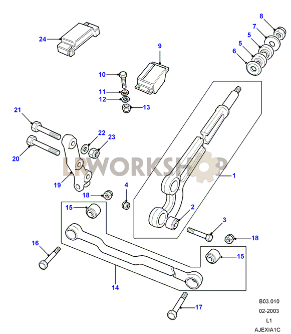 radius arms & links land rover workshop Rack and Pinion Steering Diagram radius arms & links part diagram