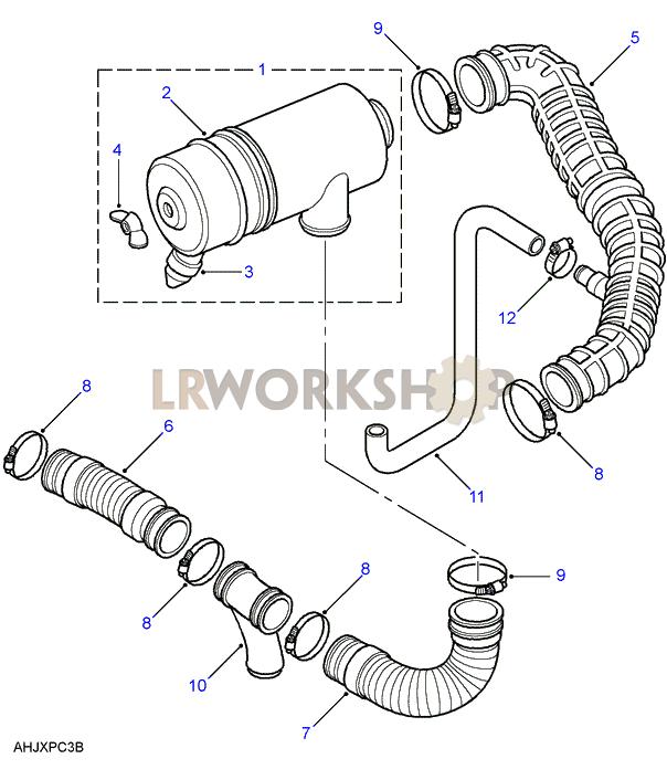 Air Cleaner Diagram : Air filter tdi land rover workshop