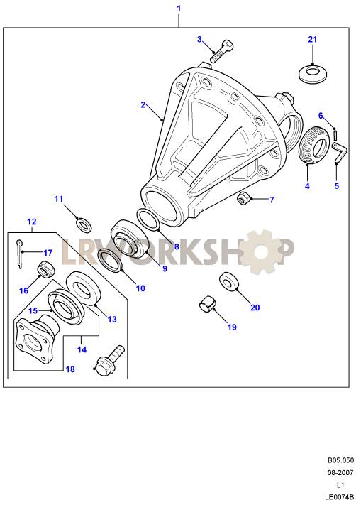STC3124 Land Rover Defender//Wolf//P38 Rear Differential Flange Kit