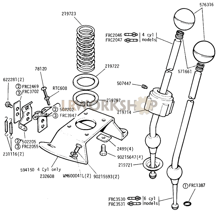 Main Gear Lever - Except 109in V8