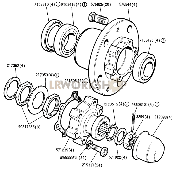 front and rear hub assemblies - 88in
