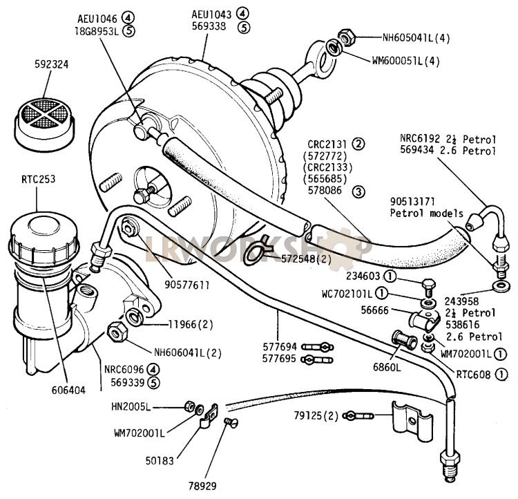 master cylinder and servo - 109in 4 cyl station wagon and 109in 6 cyl - up to june 1980