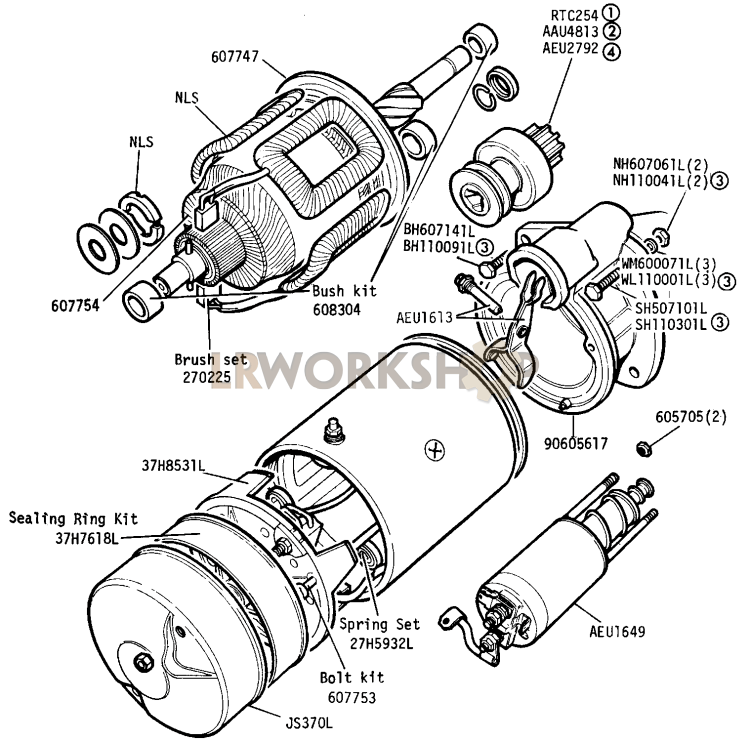starter motor and solenoid 2 25 litre diesel land rover teile Jaguar Fuse Box Location starter motor and solenoid part diagram