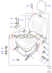 Front - With Headrest Leather/Cloth Part Diagram