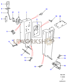 Second Row Seats (60/40) - Latch Mechanism Part Diagram