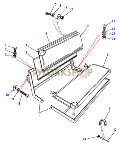 Rear Inward Facing - Two Seater Bench Part Diagram